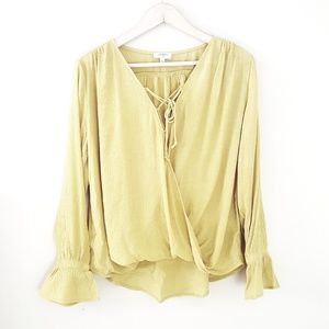 Boutique - Yellow Long Bell Sleeve Wrap Style Top